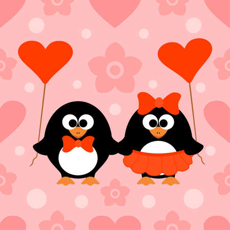 Valentines day seamless background card with penguin