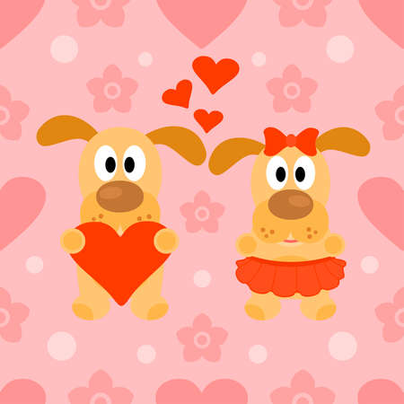 Valentines day seamless background card with dog