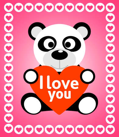 Valentines day background card with panda Vector