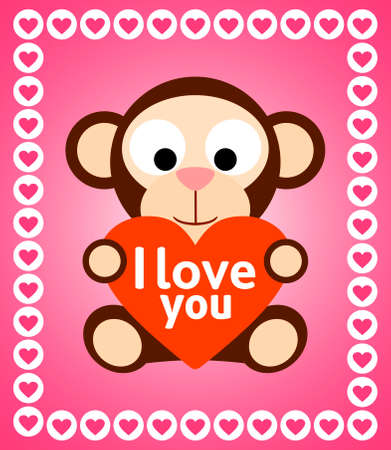 Valentines day background card with monkey Illustration