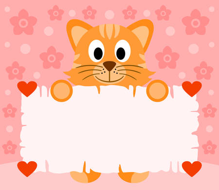 Pink Valentines day background card with cat