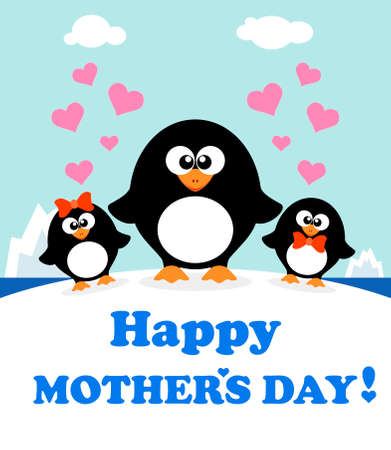 Mothers day background card with penguins Illustration