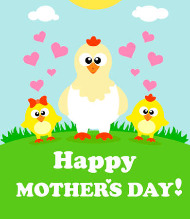 mothers day background: Carta di sfondo Festa della Mamma con i polli