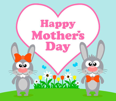 mothers day background: Felice cartolina Festa della Mamma con coniglio