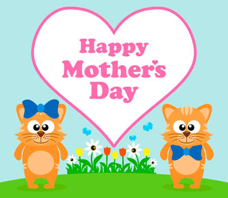 Happy Mothers day background card with cat