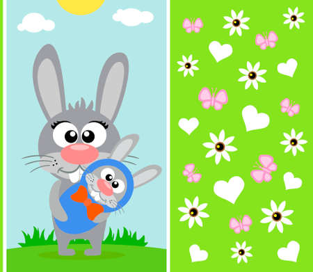 Mothers day background card with rabbit Illustration