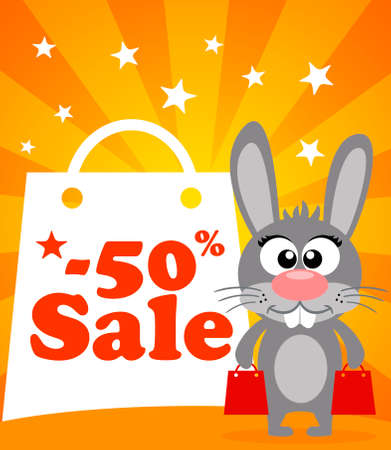 Sale poster with rabbit vector Illustration