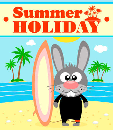 Summer holiday background with rabbit surfer Vector