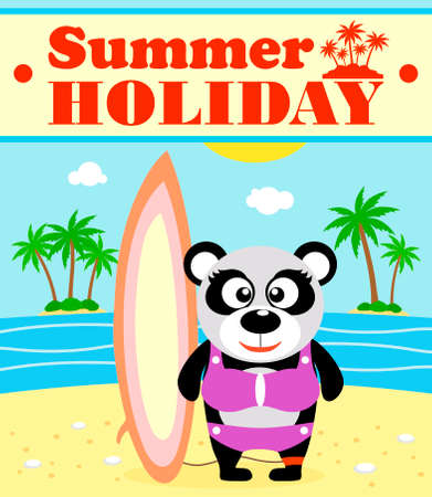 Summer holiday background with panda surfer Vector