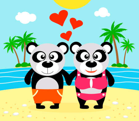 Romantic Summer  background with panda