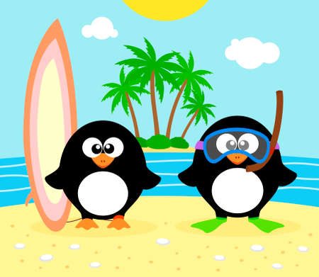 Summer  background with penguin vector Vector