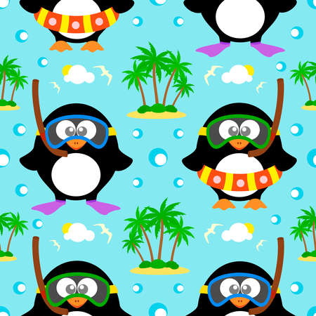 Summer seamless background with penguin vector