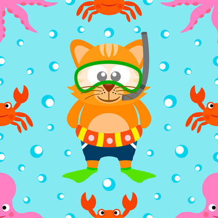 Seamless Summer  background with cat vector