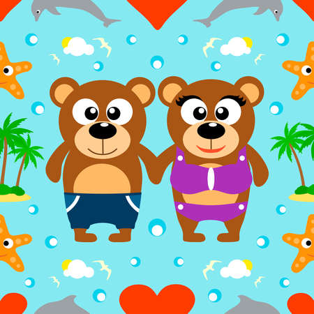 Romantic Summer seamless background with bears Vector