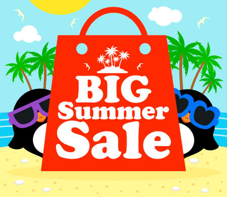 Summer sale poster with penguins vector
