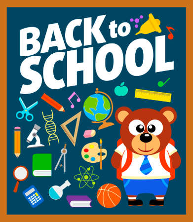 Back to school background with bear vector Vector