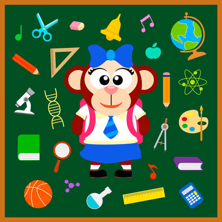 Back to school seamless background with monkey vector Vector