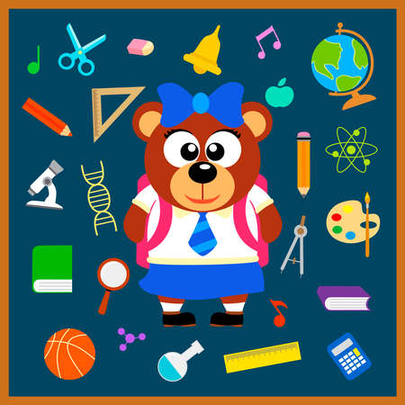 Back to school seamless background with bear vector Vector