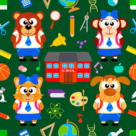 Back to school seamless  with funny animals vector Vector