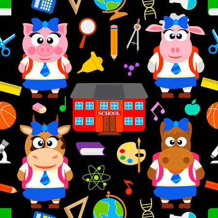 Back to school seamless vector with funny animals  Vector