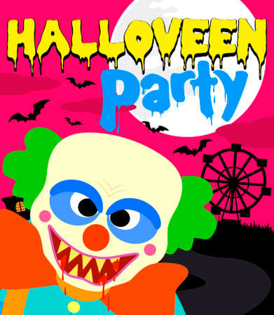 Halloween party background with clown ,pink