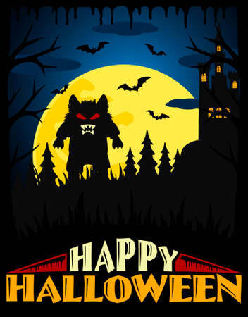 Scary Halloween background ,blue vector Illustration