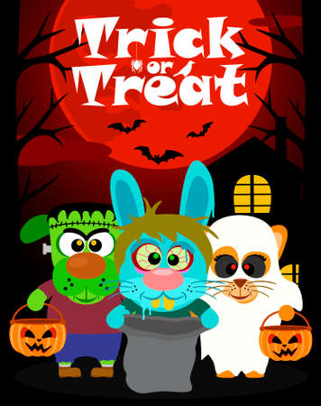 treating: Halloween background with animal trick or treating in Halloween costume