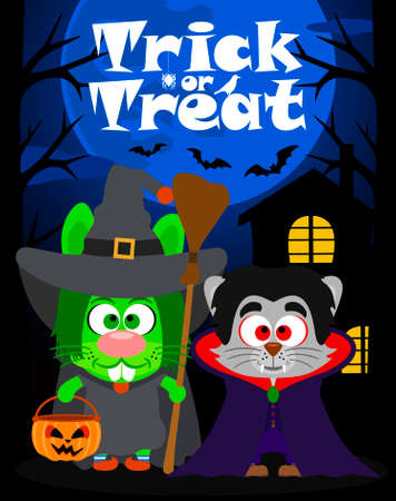 treating: Halloween background  trick or treating with animal in Halloween costume ,vector