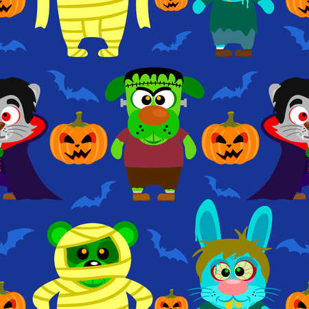 Seamless with animal in Halloween costume  Vector
