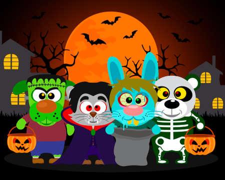 Halloween background  trick or treat animals in Halloween costume Vector