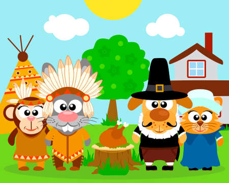 dog costume: Thanksgiving day background,with funny animals