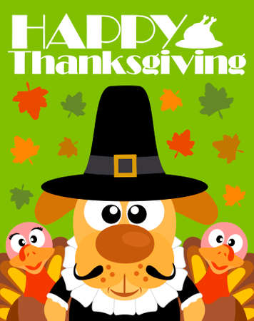 Happy Thanksgiving day background, with dog pilgrim and two turkey