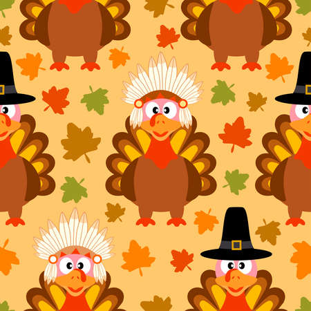 Thanksgiving seamless background with funny turkey Vector