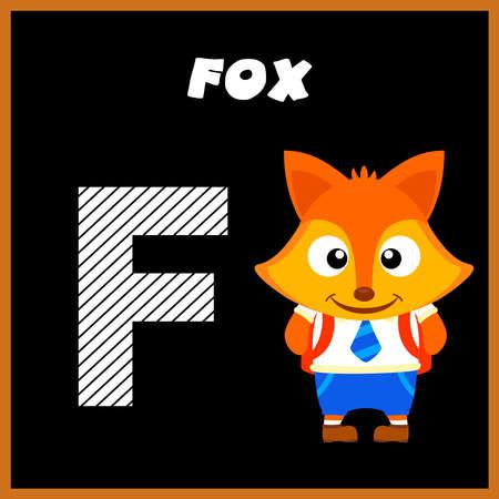 The English alphabet letter F, Fox Illusztráció