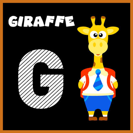 g giraffe: The English alphabet letter G, Giraffe