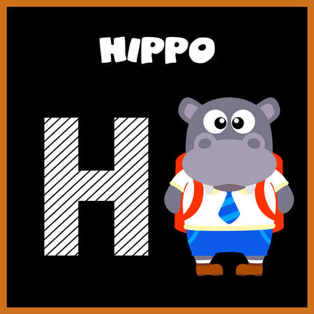 The English alphabet letter H, Hippo Vector