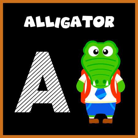 The English alphabet letter A, Alligator Vector