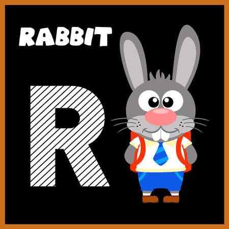 The English alphabet letter R, Rabbit Vector