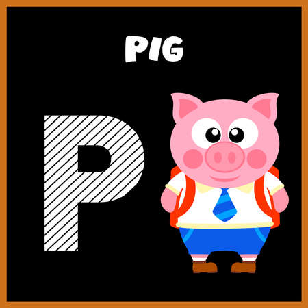 The English alphabet letter P, Pig Vector