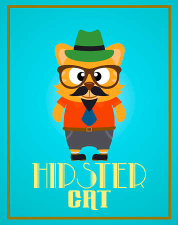 Funny hipster cat ,vector Vector