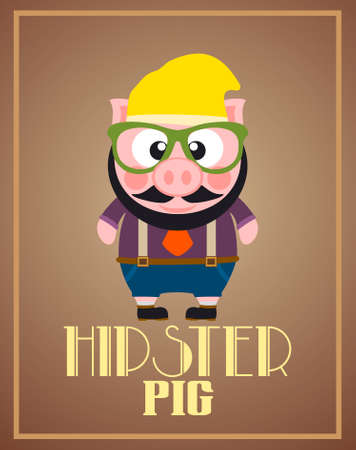 Funny hipster pig ,vector