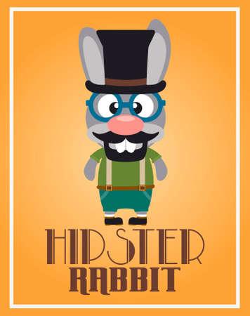 Funny hipster rabbit ,vector Illustration