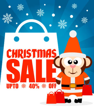 last year: Christmas sale background with funny monkey vector Illustration