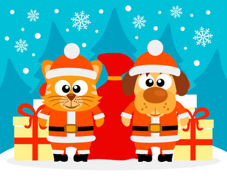 Happy New Year card with cat and dog santa claus Vector