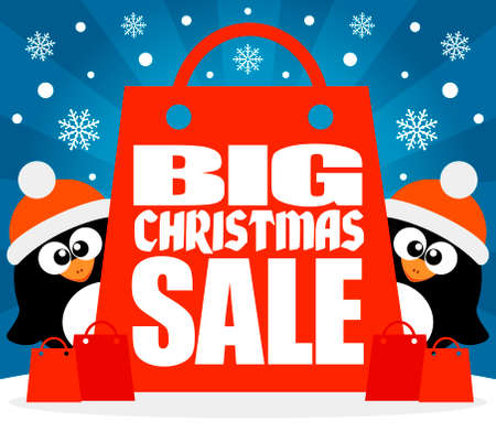 holiday shopping: Christmas  Big sale background with funny penguins vector