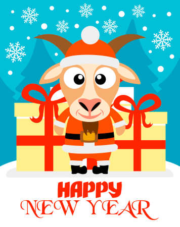 Happy New Year card with goat santa claus