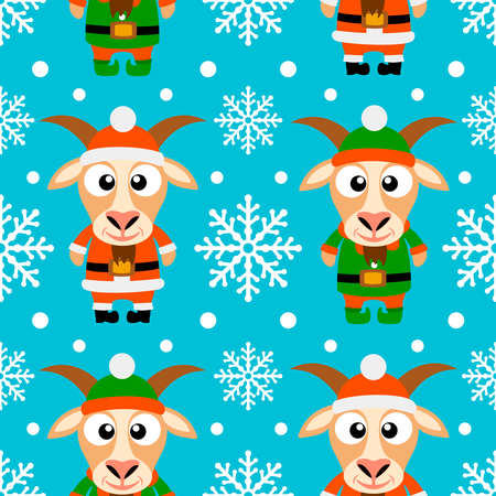 New Year seamless card with funny goat santa claus and goat elf Vector