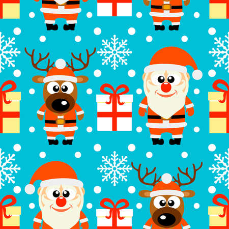 New Year seamless card with funny Santa Claus and deer