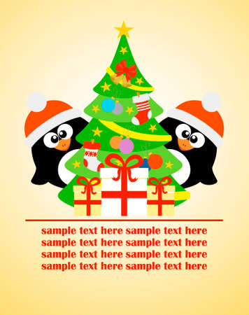 Happy New Year card with penguins and Christmas tree,vector