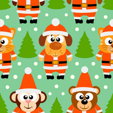 New Year seamless card with funny animal,vector Vector